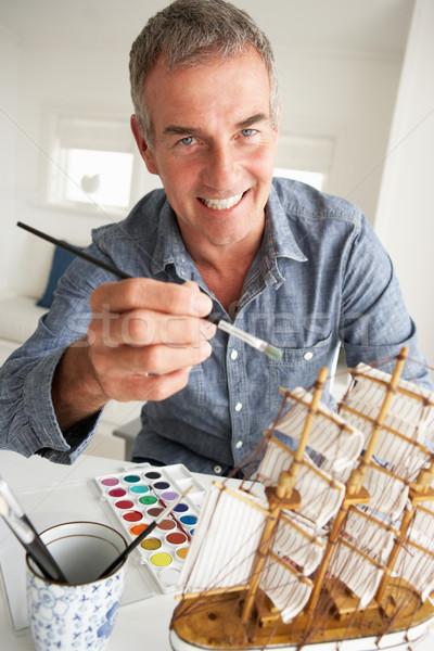 Mid age man model making Stock photo © monkey_business