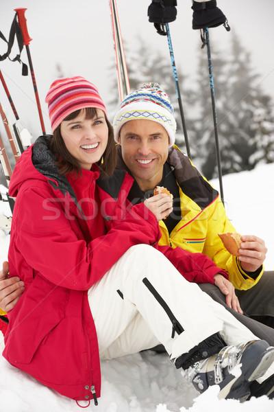 пару еды сэндвич лыжных праздник Сток-фото © monkey_business