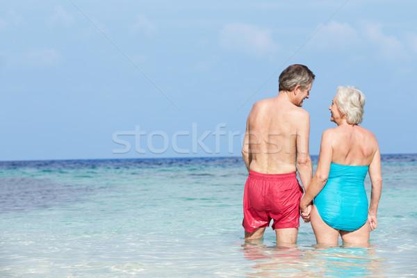 Foto stock: Romântico · casal · de · idosos · em · pé · belo · tropical · mar