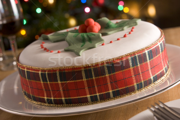 Ingericht christmas fruitcake voedsel cake eieren Stockfoto © monkey_business