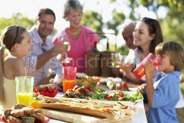 Stock fotó: Család · ebéd · freskó · étel · gyerekek · nők