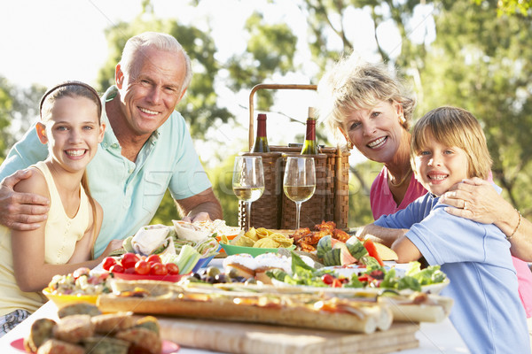 Stockfoto: Familie · dining · vrouw · kinderen · wijn