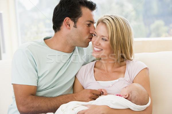 Coppia soggiorno baby sorridere amore bambino Foto d'archivio © monkey_business