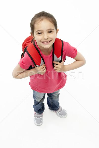 Foto d'archivio: Studio · ritratto · sorridere · ragazza · indossare · scuola