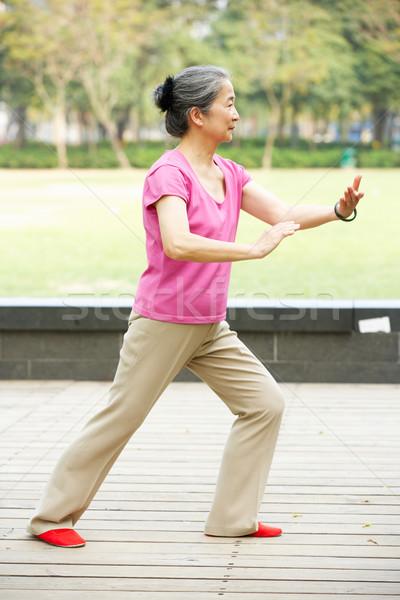 Idős kínai nő tai chi park nők Stock fotó © monkey_business