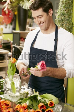 Wedding Planner Checking Table Decorations In Marquee Stock photo © monkey_business