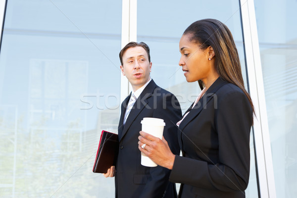 Businesspeople With Takeaway Coffee Outside Office Stock photo © monkey_business