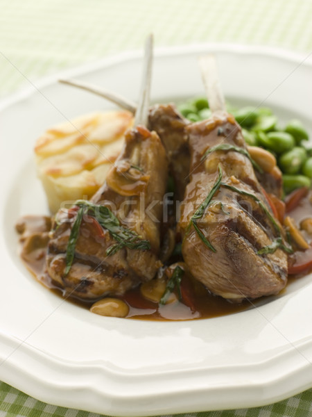 Grilled Lamb Cutlets Chasseur sauce Pomme Anna and Baby Broad be Stock photo © monkey_business