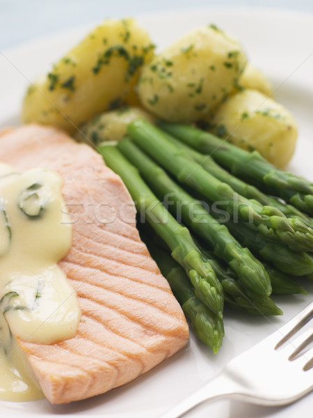 Poached Salmon with Asparagus and Sorrel Sauce Stock photo © monkey_business