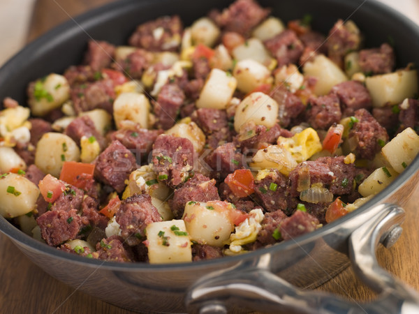 Stock photo: Corned Beef Hash in a Frying Pan