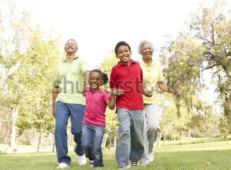 Family running along woodland track Stock photo © monkey_business