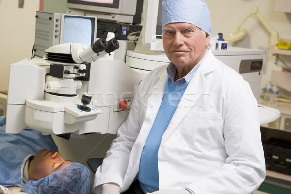 Doktor hasta göz muayenesi kadın tıbbi renk Stok fotoğraf © monkey_business
