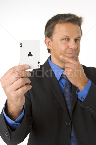 ストックフォト: ビジネスマン · エース · 男 · 思考 · カード