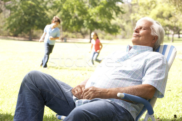 Senior Man Relaxing In Park With Grandchildren In Background Stock photo © monkey_business