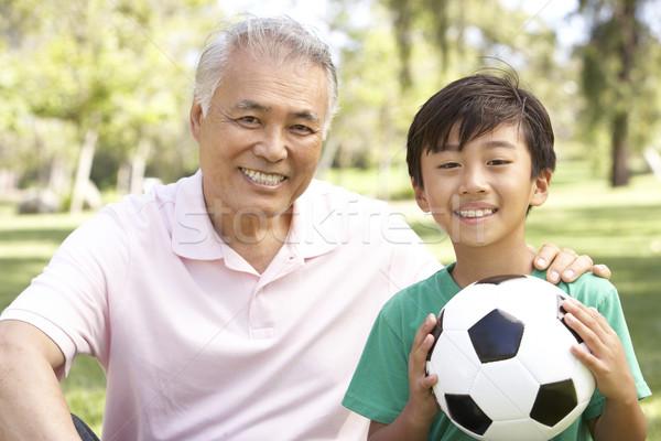 Abuelo nieto parque fútbol fútbol nino Foto stock © monkey_business