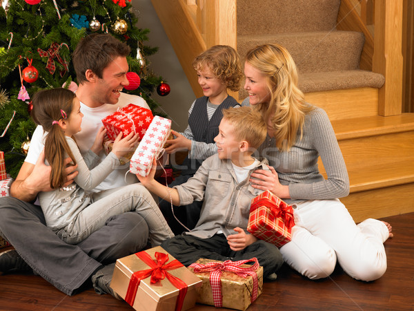 Family exchanging gifts in front of Christmas tree Stock photo © monkey_business
