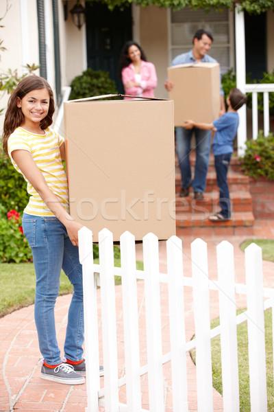 Család mozog új ház nő gyerekek kert Stock fotó © monkey_business