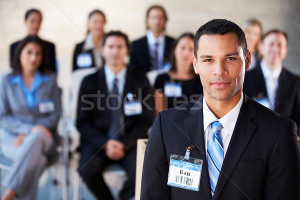 Zdjęcia stock: Biznesmen · prezentacji · konferencji · działalności · człowiek · mężczyzn