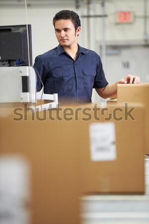 Worker Checking Goods On Belt In Distribution Warehouse Stock photo © monkey_business