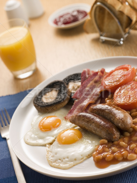 Full English Breakfast with Orange Juice Toast and Jam Stock photo © monkey_business