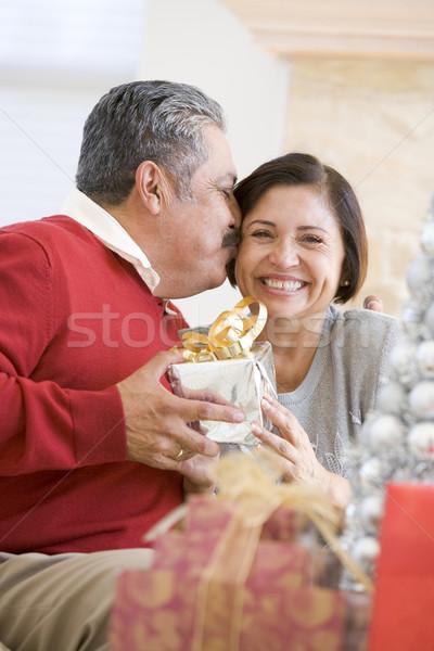 W średnim wieku para posiedzenia christmas salon Zdjęcia stock © monkey_business
