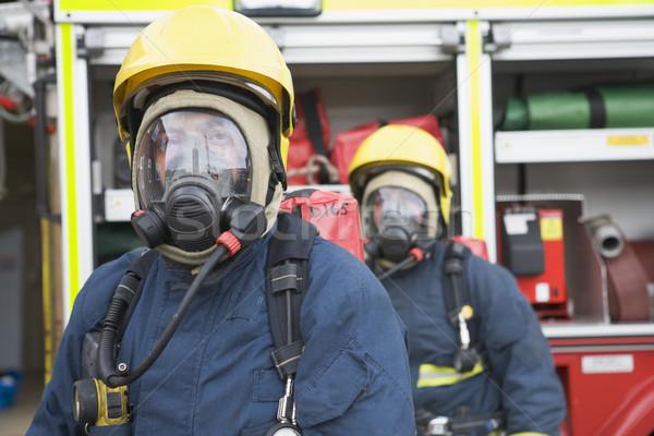 Tűzoltók védőruházat férfiak portré szín vészhelyzet Stock fotó © monkey_business