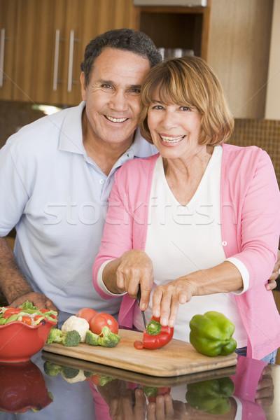 Férj feleség együtt pár vacsora kés Stock fotó © monkey_business