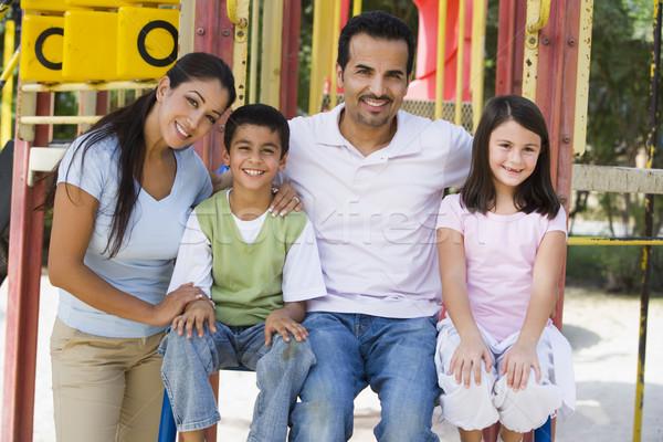 Foto stock: Família · recreio · escalada · quadro · mulher