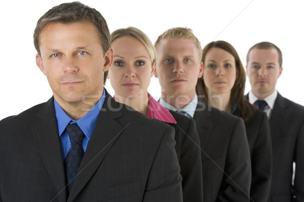 Zdjęcia stock: Grupy · ludzi · biznesu · line · patrząc · poważny · kobiet