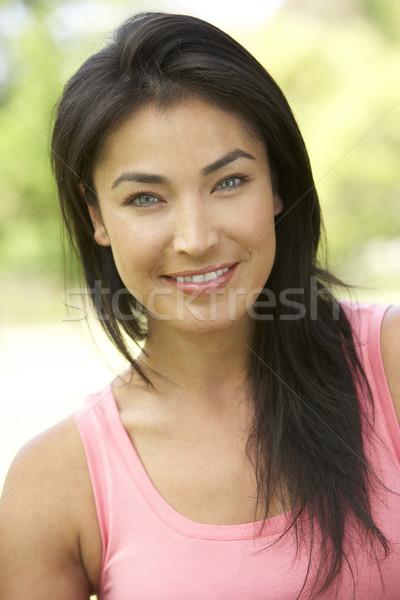 Zdjęcia stock: Portret · młoda · kobieta · parku · kobieta · ogród · kobiet