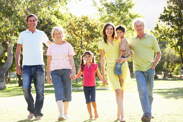 Extended Group Portrait Of Family Enjoying Walk In Park Stock photo © monkey_business