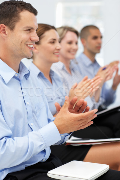 Group applauding business presentation Stock photo © monkey_business