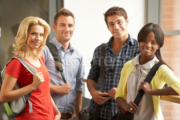 Karışık grup Öğrenciler kolej kadın mutlu Stok fotoğraf © monkey_business