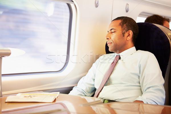 Imprenditore riposo treno uomo uomini suit Foto d'archivio © monkey_business