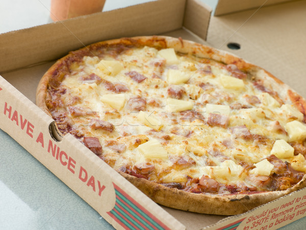 Ham and Pineapple Pizza in a Take Away Box Stock photo © monkey_business