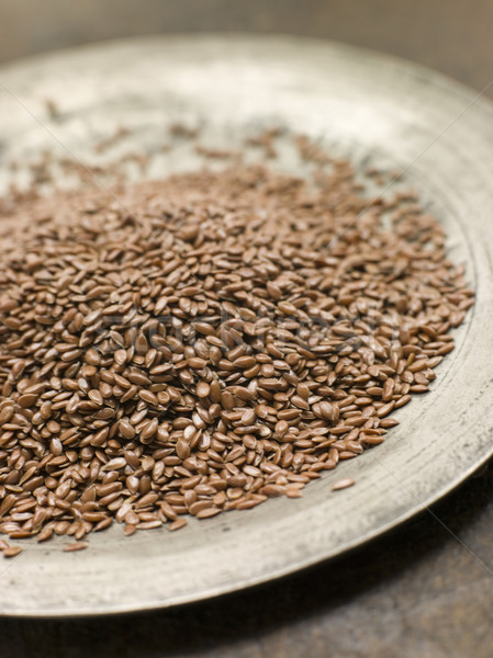 Brown Linseed on a Pewter Plate Stock photo © monkey_business