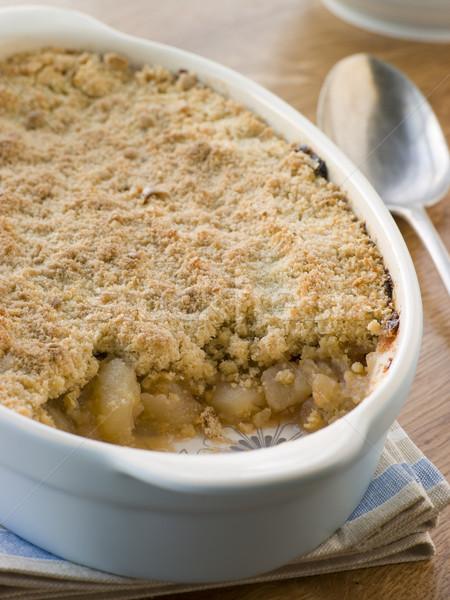 Foto stock: Prato · maçã · comida · cozinhar · sobremesa · colher