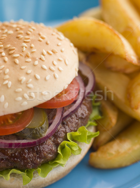 Beefburger with Salad and Pickles in a Sesame Seed Bun with Chip Stock photo © monkey_business