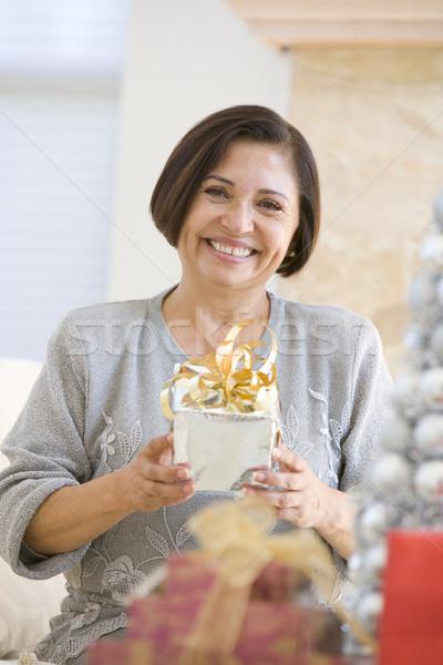 Stockfoto: Vrouw · vergadering · sofa · christmas · geschenk
