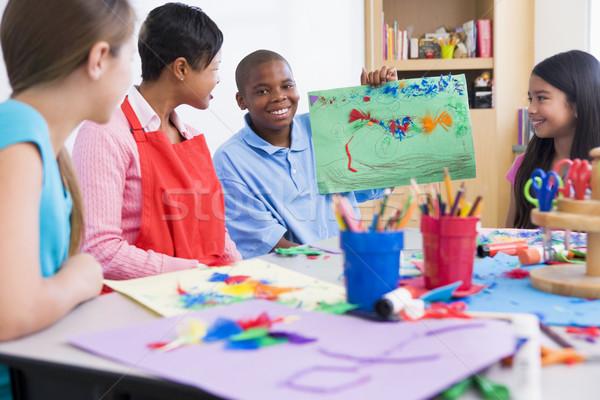 Stock fotó: általános · iskola · művészet · osztály · megbeszél · kép · nő