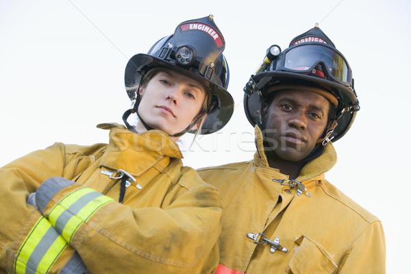 Foto stock: Retrato · bombeiros · mulher · homem · feminino · capacete