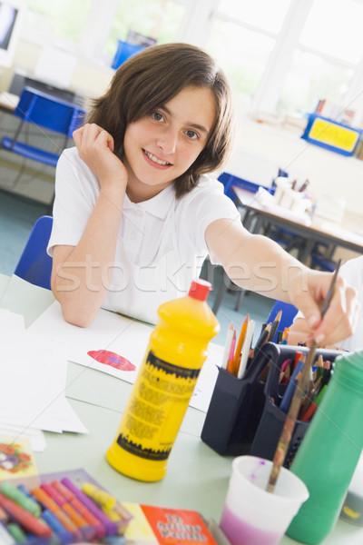 Schoolmeisje kunst klasse meisje kind onderwijs Stockfoto © monkey_business