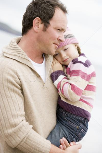 Сток-фото: отец · дочь · пляж · ребенка · морем