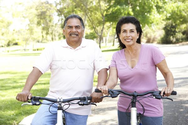 Stok fotoğraf: Binicilik · Motosiklet · park · kadın · adam