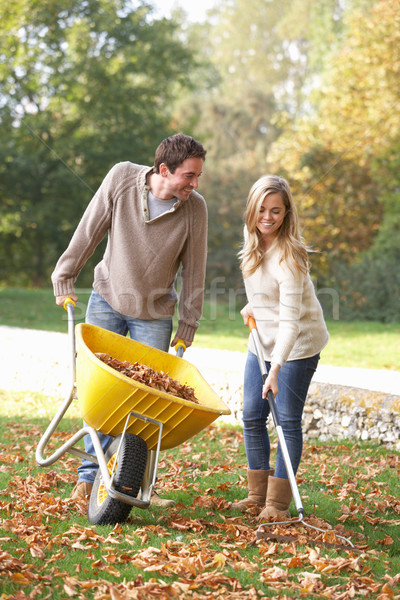 Young couple raking autumn leaves in garden Stock photo © monkey_business