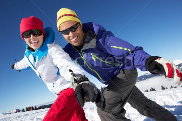 Pár szórakozás sí ünnep hegyek férfi Stock fotó © monkey_business