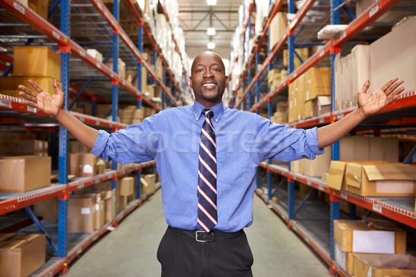 Portrait affaires entrepôt boîte hommes Emploi Photo stock © monkey_business