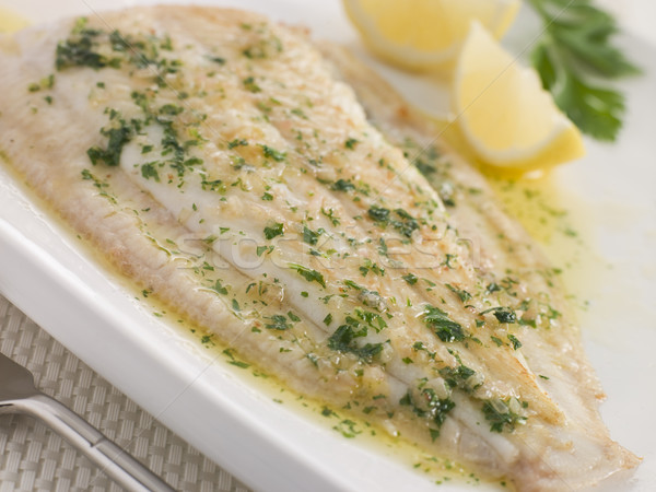 Whole Lemon Sole Meuniere with Lemon and Parsley Garnish Stock photo © monkey_business