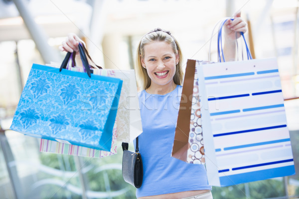 Photo stock: Femme · sacs · heureux · Shopping