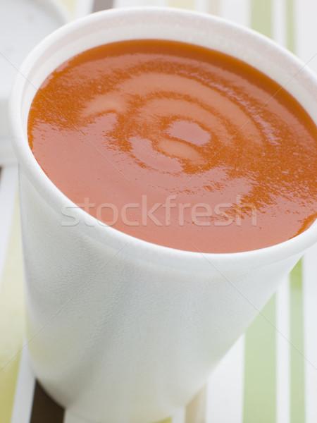 Copo sopa de tomate tabela sopa cor fast-food Foto stock © monkey_business